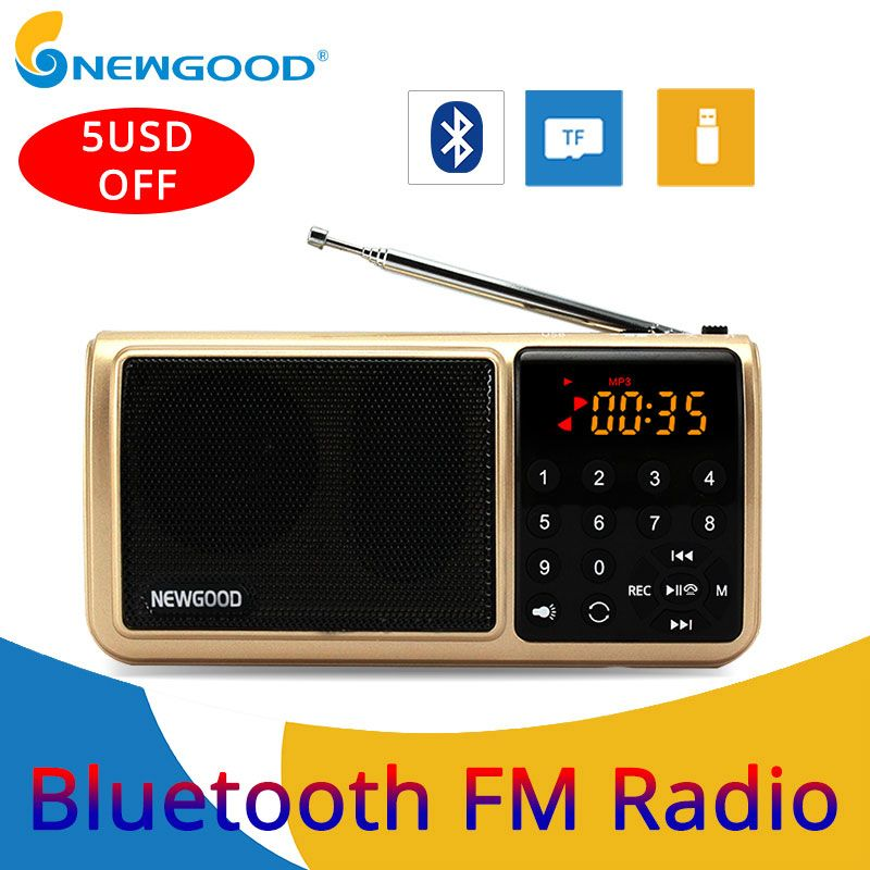 Bluetooth Fm Radio Portable Digital Micro Sd Radios Speaker Radio Receiver Aux TF USB Mp3 Player Speakers Flash drive FlashLight