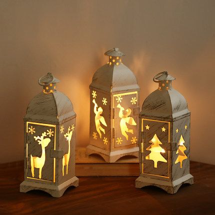 20X7CM Retro Edition Iron Material Christmas Candlestick Christmas Tree Elk Angel Styles Outdoor Christmas Decoration
