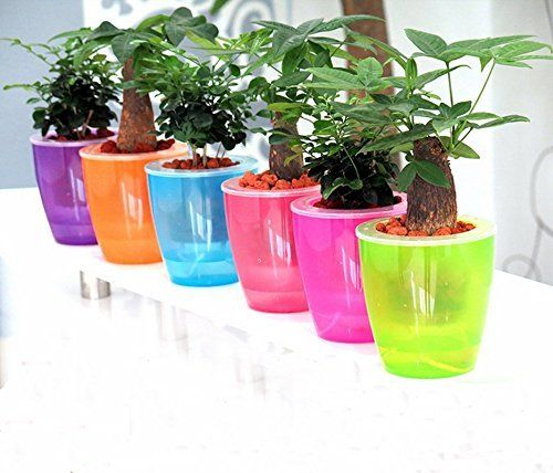Mkono 3pcs Self Watering Pot Automatic Planter Plant Flower Pots for Garden Office Home Decoration Table Floor Use, Random color