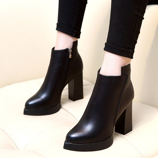 New Winter Botas Mujer Fashion Women Ankle Boots Square Heel Platforms Zapatos Mujer PU Leather High Pump Boots Motorcycle Shoes