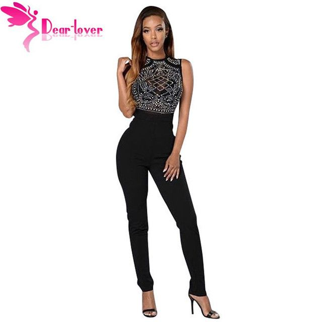 Dear Lover Jumpsuit Women Long Pants 2016 Black Rhinestone Decorated Round Neck Bodycon Night Club Rompers Full Length LC64152