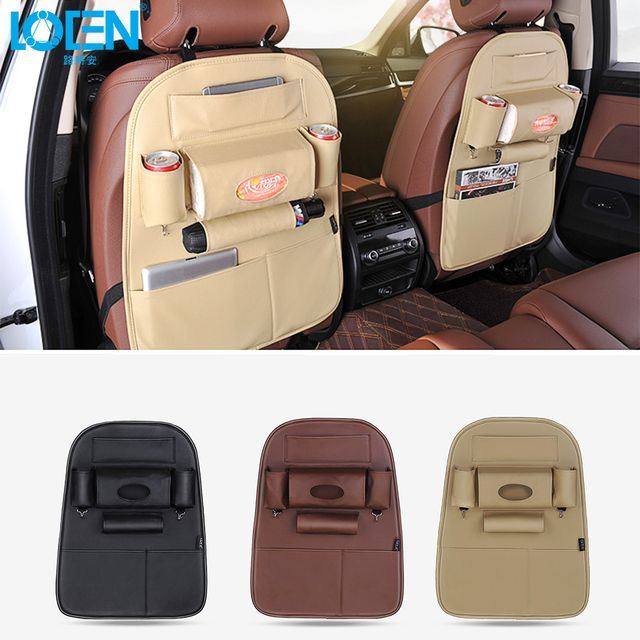 Quality PU Leather Auto SUV Car Seat Back Organizer For Tissue Phone iPad Umbrella Holder Travel Storage Bags Multi-Pocket