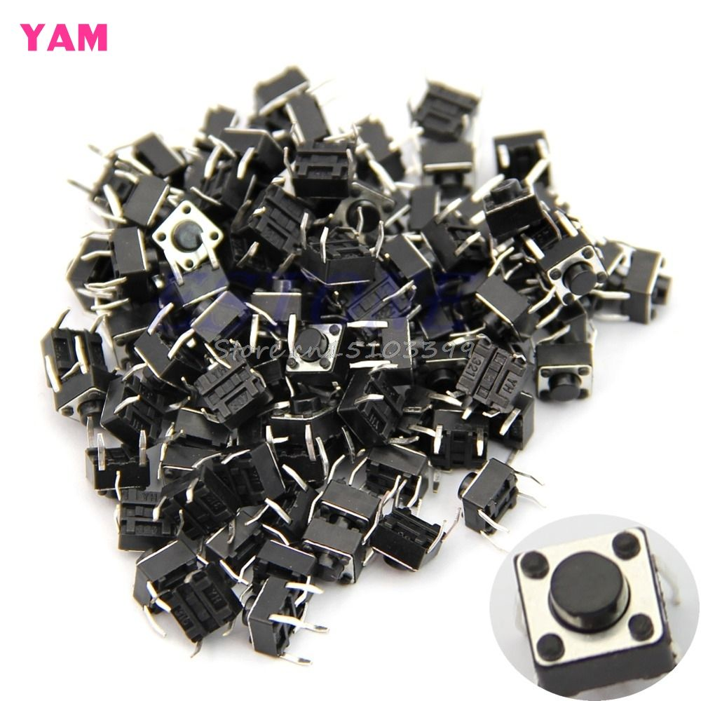 100Pcs 6*6*5mm 4pin Quality Mini Micro Momentary Tactile Push Button Switch G08 Whosale&DropShip