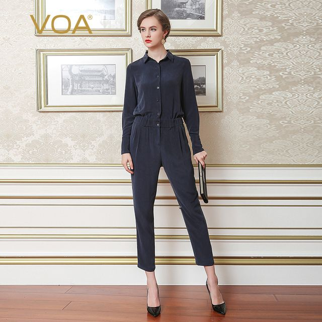 VOA Heavy Silk Jumpsuits Safari Style Jumpsuit Women Plus Size 5XL Slim High Waist Solid Navy Blue Casual Brief Summer K5360
