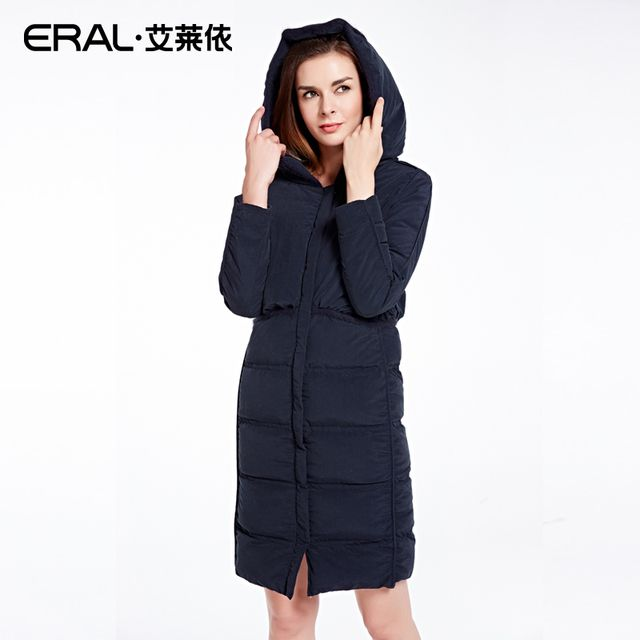 ERAL Women's Winter 2016 Slim Casual Solid Hooded Thickening Luxury Long Down Jacket ERAL16067-EDAC