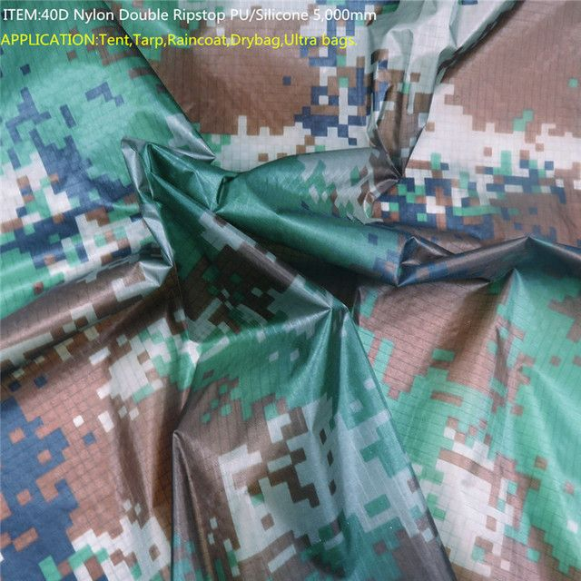 40D Ultra Nylon Fabric Ripstop Military Camouflage Fabric PU/Silicone 5,000mm for Dry Bag,Tent,Tarp,Raincoat, Backpack cover