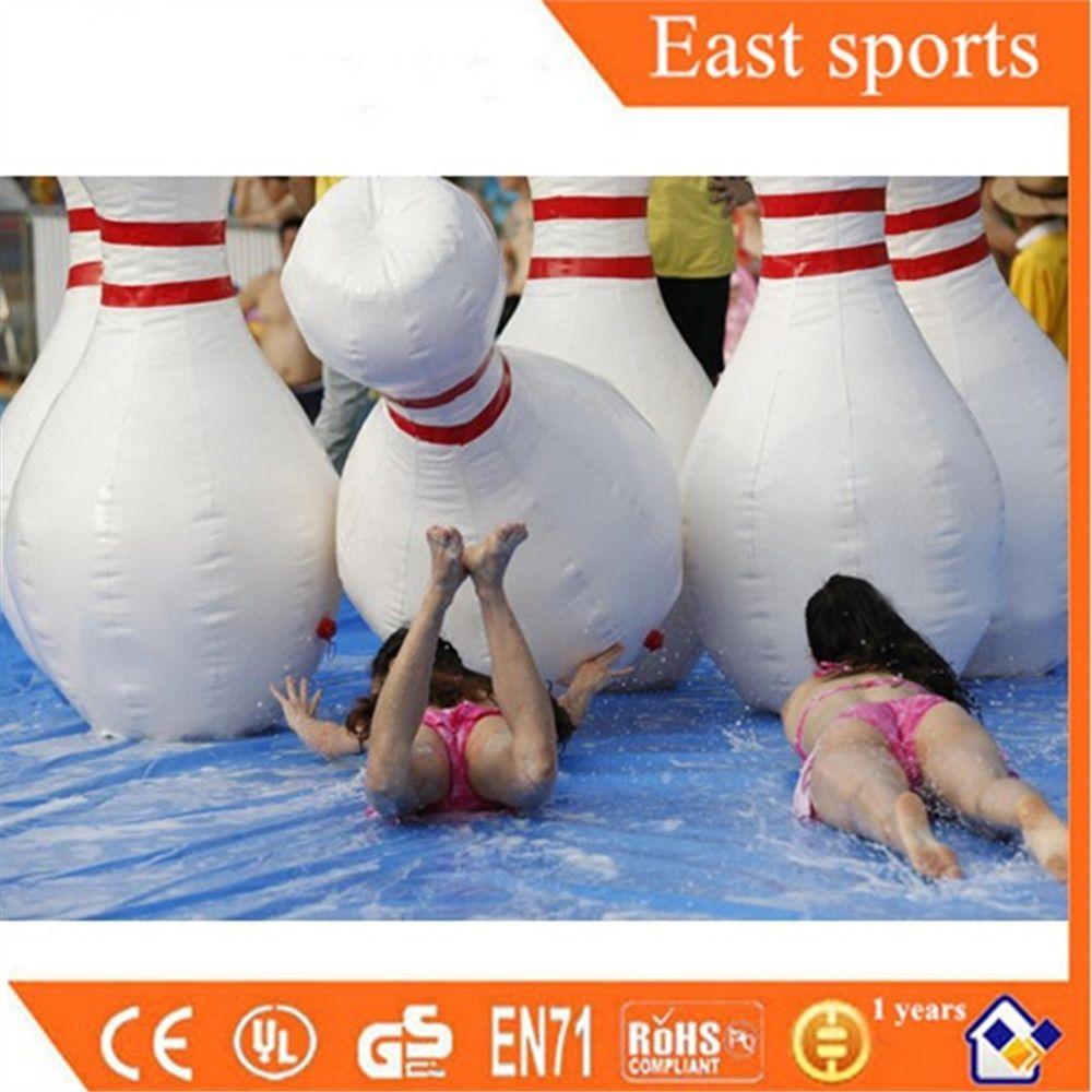 Winter Spring Outdoor Indoor Fun Games Giant 2m Inflatable Bowling Pins Ball Game with Black Ball