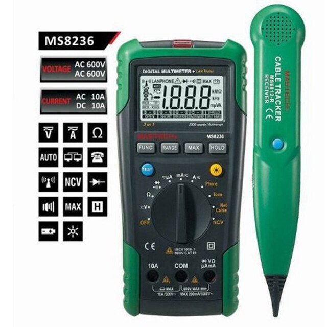Free Shipping Network Cable Tester MASTECH MS8236 Network Digital Multimeter with Cable Track Tester  Multi-Meter