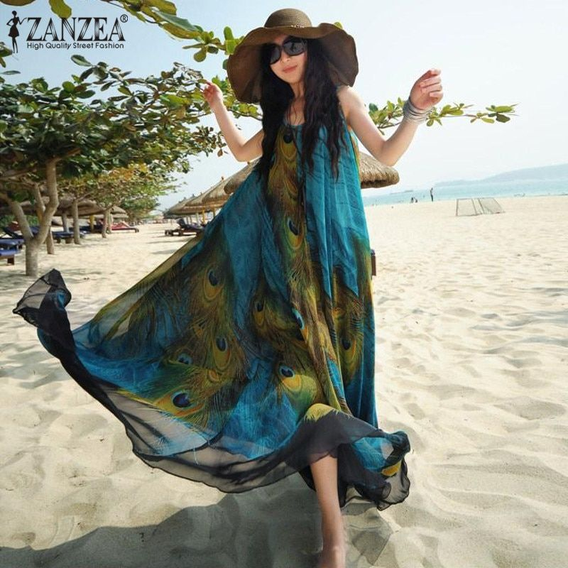 2018 Summer  Chiffon Peacock Floral Embroidery Sleeveless Printed Beach Tunic Long Maxi Dress Sundress Vestidos Plus Size