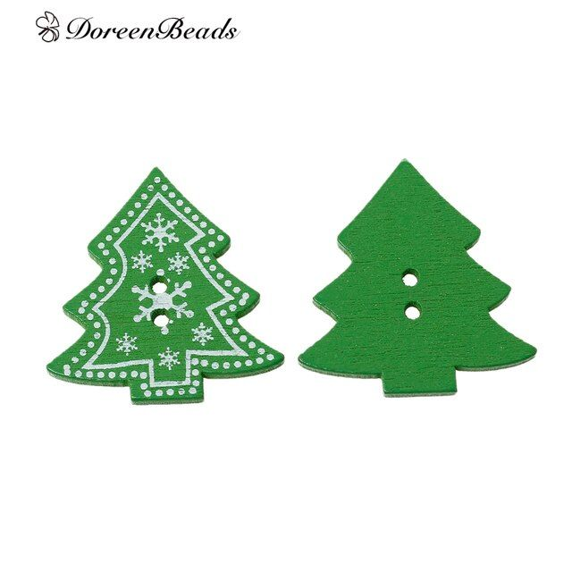 "DoreenBeads Wood Sewing Button Scrapbooking Christmas tree Green 2 Holes Snowflake Pattern 3.2cm(1 2/8"")x 3.0cm(1 1/8""),5 PCs"