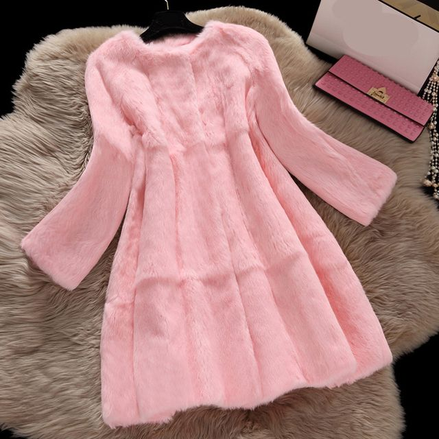 Top quality natural rabbit fur coats women autumn winter pocket slim long full pelt fur coat outerwear women's jacket plus size