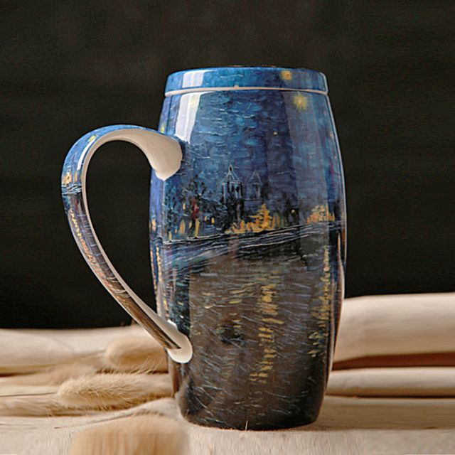 Restore Ancient Ways Hand Made Ceramic Coffee Mug with Lid Bone China Van gogh Classical Painting Drink Morning Mug SH279-168