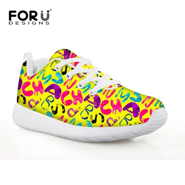 FORUDESIGNS Yellow Letter Flat Comfort Children Sport Sneakers Breathable Badminton Shoes Zapatillas Mujer High Quality Kid Shoe