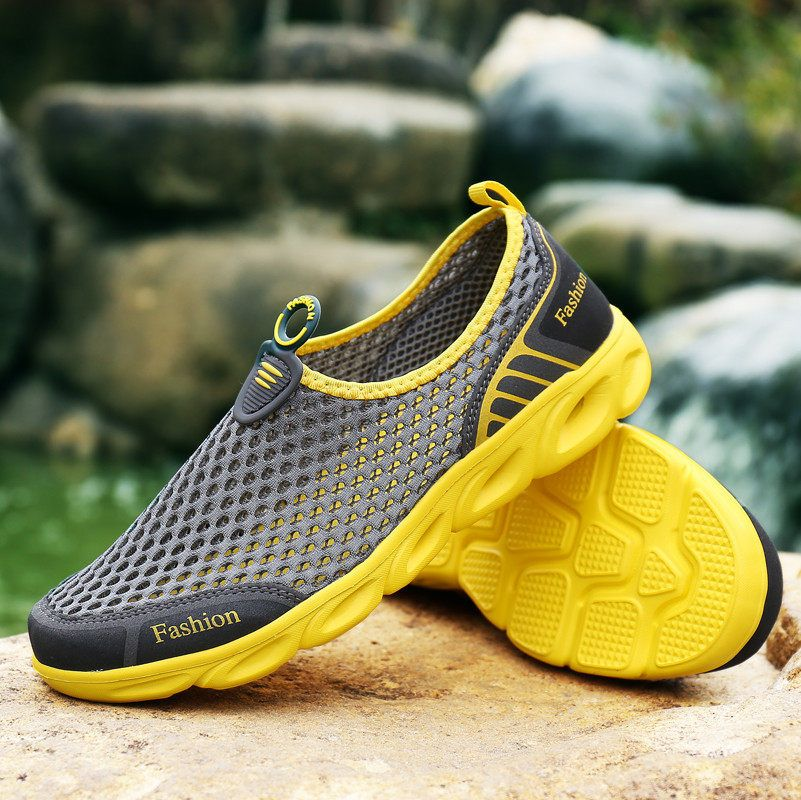 PINSV Aqua Shoes Men Aqua Shoes Women Summer Beach Shoes Water Shoes For Men Sports Sneakers Hiking Sandals Breathable Yellow