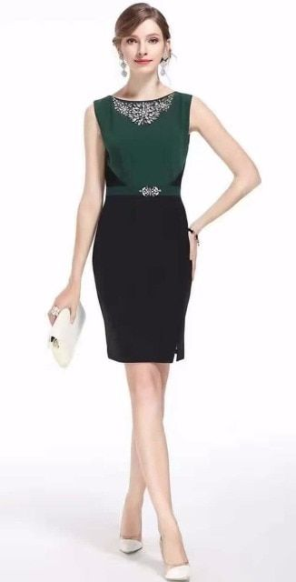 Color Block Women Sheath Dress Fashion Diamond Split Dresses 02Y003