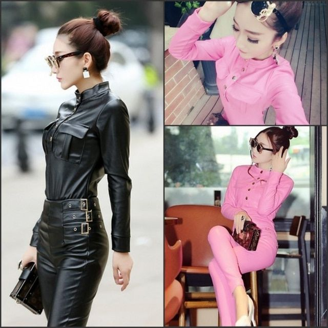 New small pu leather coat mandarin collar jacket slim tight leather pants suit fashion tide locomotive set
