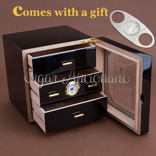 COHIBA Luxury Black High Glossy Piano Finish Cedar Wood Cigar Humidor Cabinet  Storage Box W/ 3 Drawers Hygrometer Humidifier