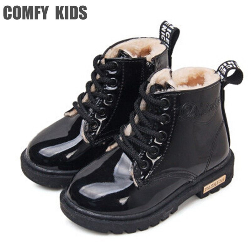 COMFY KIDS Winter Children Boots Shoes PU Leather Waterproof Martin Boots Kids Snow Boots Brand Girls Boys Rubber Boots For Boy