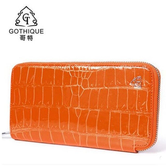Gete 2018 new Thai real crocodile leather hand bag female 24 k gold leather handbags wallet long money