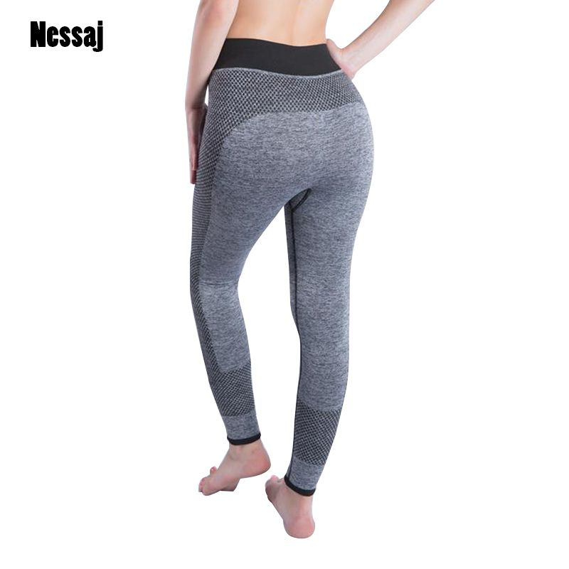 Nessaj Women Sexy Cropped Leggings High Waist Elastic Slim Trousers 34 C Force Exercise Female Elastic Stretchy Leggings