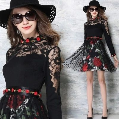 YiLin Kay 2017 Runway High Quality Black Dress Women's Luxurious Mesh Lace splicing Dress Vestidos Plus Size Mini Dress