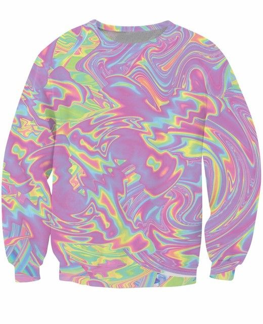 Goth Pastel Crewneck Sweatshirt dizzying swirls of iridescent colors Jumper psychedelic Sweats Women Men 3d Outfits  Tops