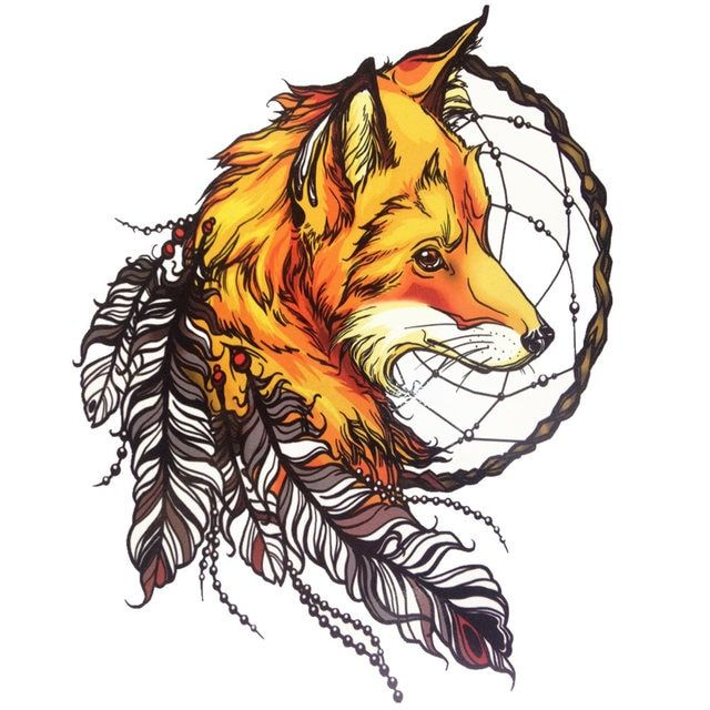 Yellow Fox with Feather Cool Beauty Tattoo Waterproof Hot Temporary Tattoo Stickers #21 X 15 CM Size