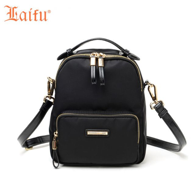 Laifu Brand Designer Backpacks School Teenage Girls Multifunctional Nylon Bag Ladies Women Shoulder Bag, Black ,Purple