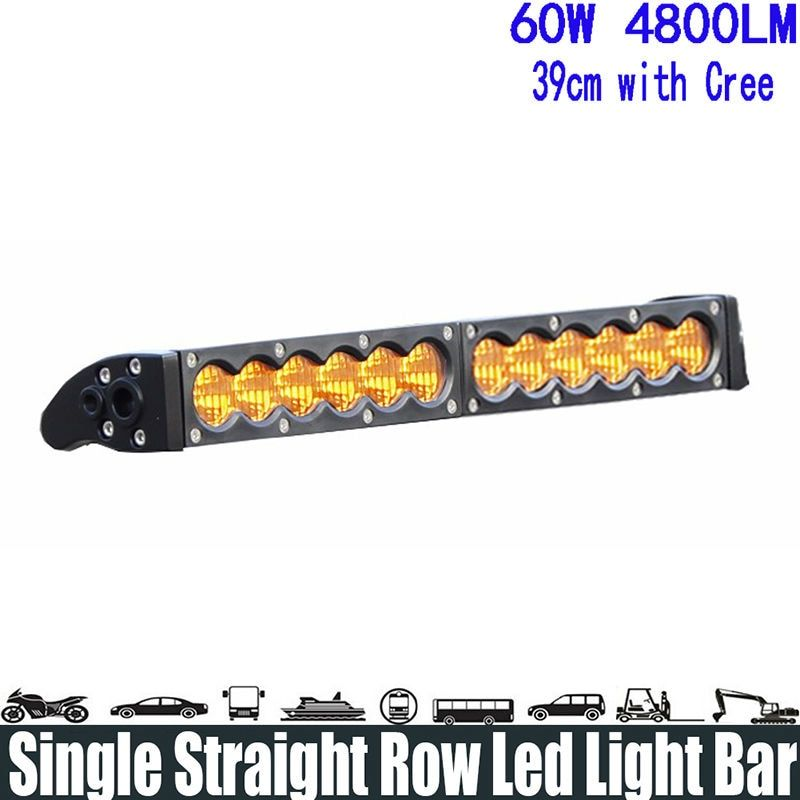 "60W 13"" Amber Flood Single Row Led Light Bar Super Bright Led Light Bar Running Lights Headlight Bar Fog Work Driving Lamp for O"