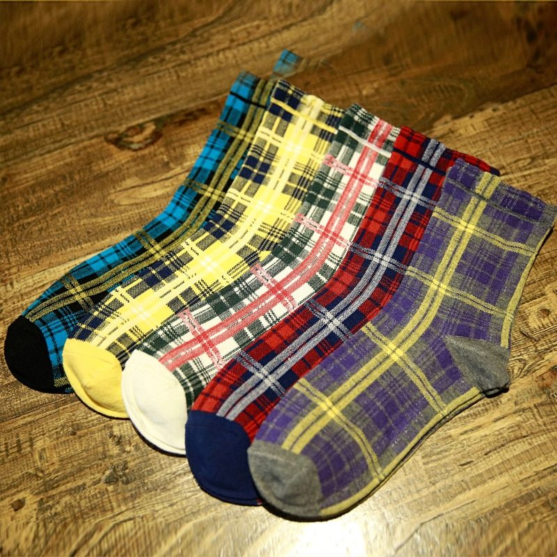 Man Socks fashion gradient plaid cotton socks man socks Winter Thick Warm M EUR39-44