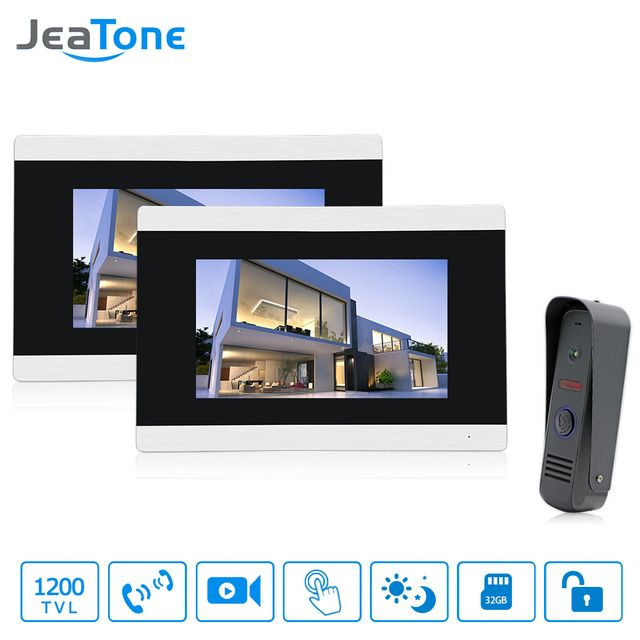 "Jeatone 7"" Touch-Screen Video Door Phone Doorbell Intercom IR Camera LCD Monitor Unlocking Electronic Lock System Video record"