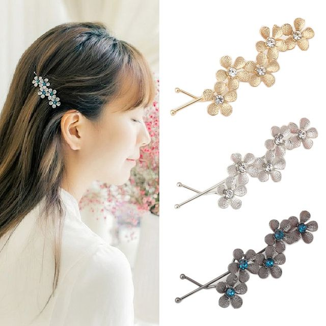 Women's Flower Hair Clip Barrettes Hairpins Hair Accessories Headwear Girl Floral Clamps Hairgrip Rhinestone Hairclip Headdress