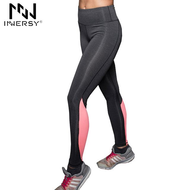 Innersy Women Sport Capris Elastic Patchwork Pants for Running Fitness Dry Quick Workout Leggings pantalones mujer Jzh72
