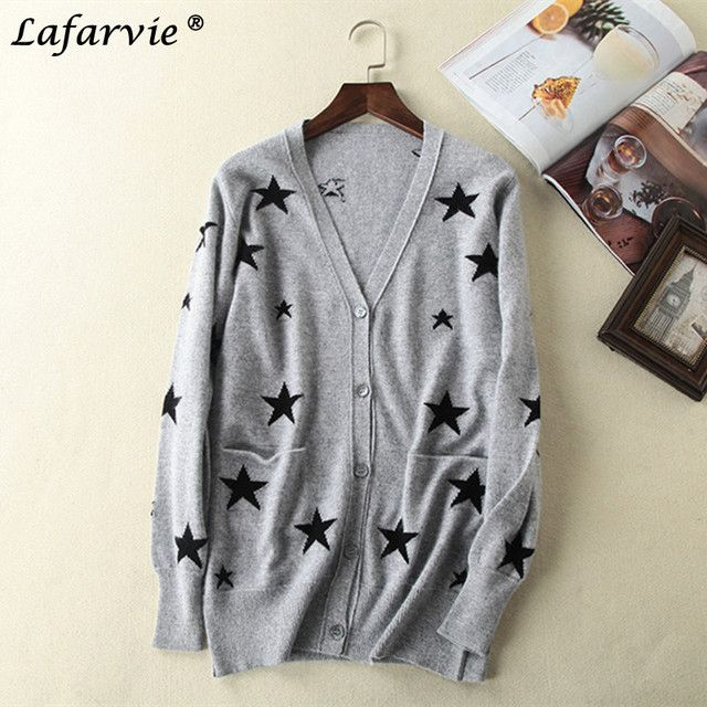 Lafarvie 2017 Fashion Cashmere Blended Cardigan Knitted Sweater Women Tops V-Neck Full Sleeve Virgin Female Cardigan Jumper Pull