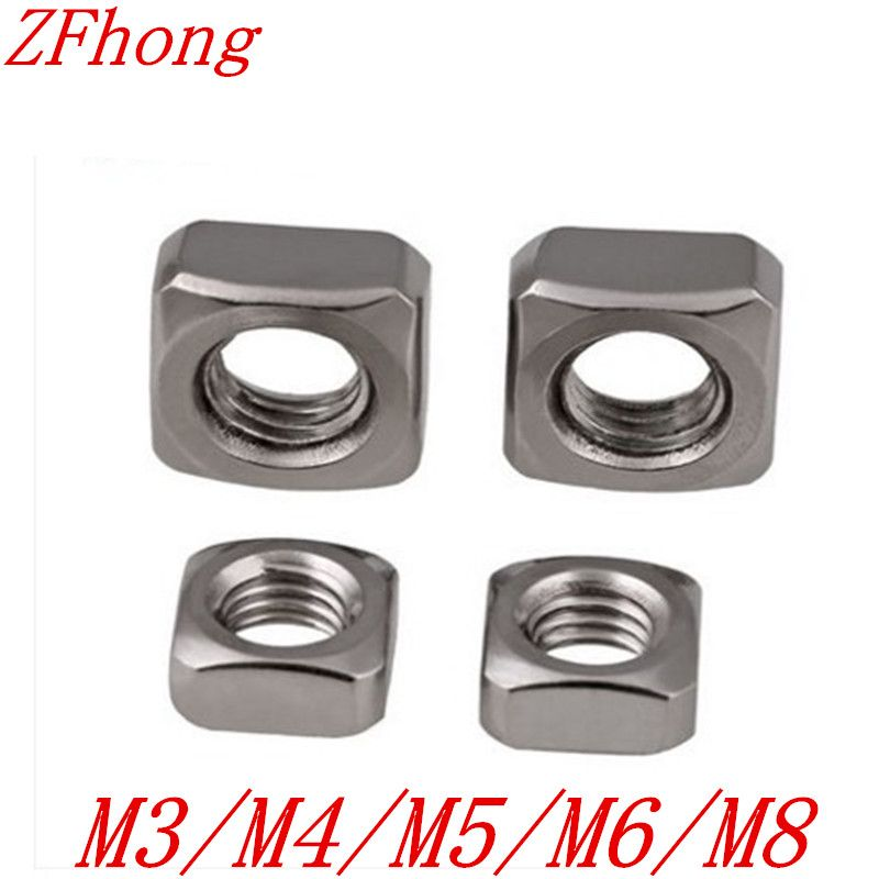 DIN557 M3 M4 M5 M6 M8  A2 Stainless Steel Metric Square Nuts