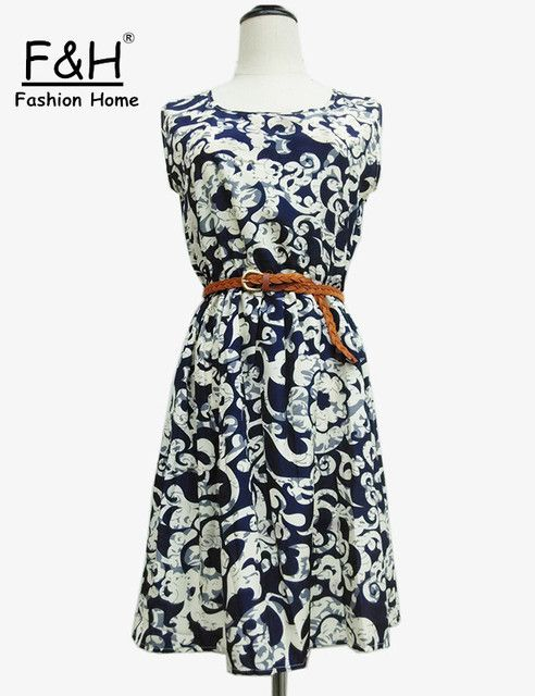 F&H Brand S M L XL XXL 20 Colors Fashion Women New Sleeveless Round Neck Florals Saias Femininas Waistband Print Dress