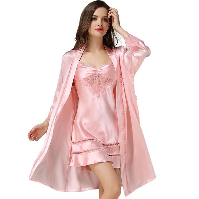 New 100% Silk Satin Solid Women Robe & Gown Sets Women's Bathrobe Sexy Robes with Femme Dressing Nightdress sp0018