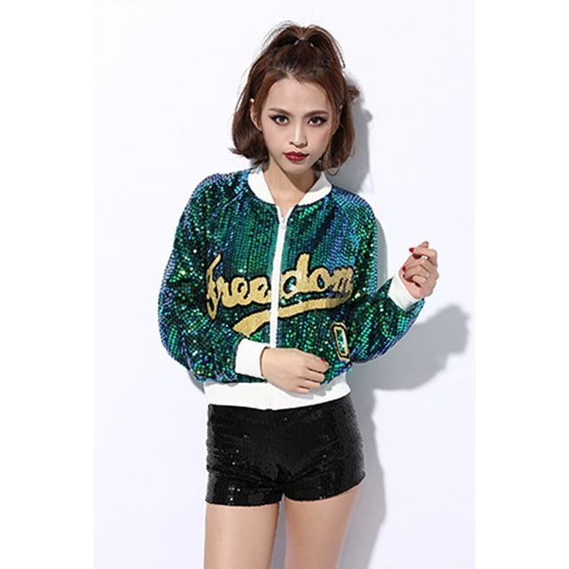 Unpadded satin embroidery bomber jacket women Paillette Stage costumes Show jacket coat Casual baseball jacket sukajan Hip hop
