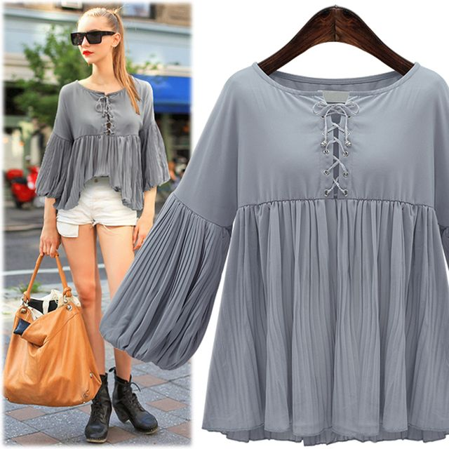 New Autumn 2016 European style large size women fat MM lantern sleeve chiffon shirt Women's clothes