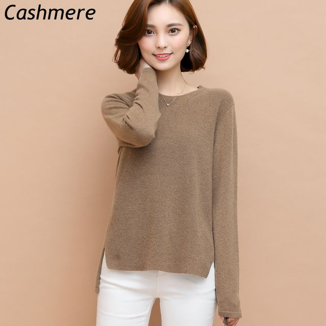 100% Pure Cashmere Sweater Women Pullover Autumn and Winter Fashion Warm Knit Long Sleeve Loose Sweater