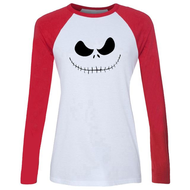 iDzn Women's T-shirt The Nightmare Before Christmas Jack Skellington Halloween Long Sleeve Girl's cotton T shirt Lady Tee Tops