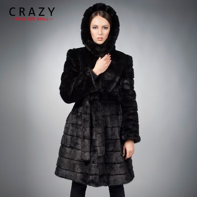 New 2017 X-Long 90cm Plus Size Women Clothing 4XL 5XL Winter Artificial Economy Mink Fur Coat with a Hood Luxury Fake Fur Coats