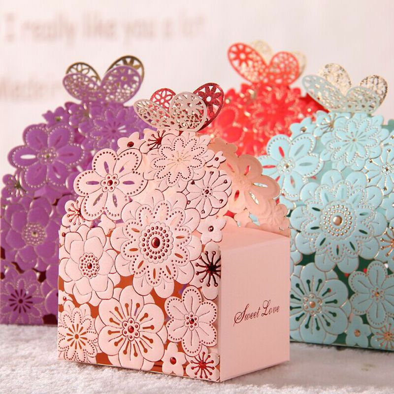 20pcs/lot Pink blue Baby Shower Paper Box Favour Gift Candy Boxes Ribbon Wedding Favor Best Candy Box