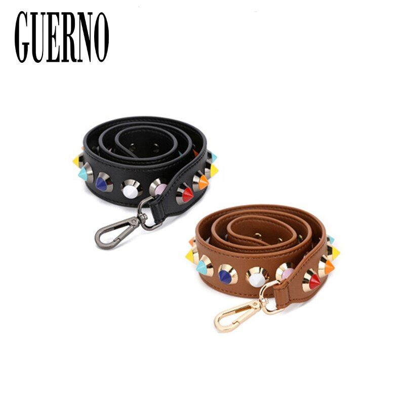 GUERNO Hot fashion personality flower rivet handbags belts women bags strap women bag accessory bags parts pu leather icon P2088