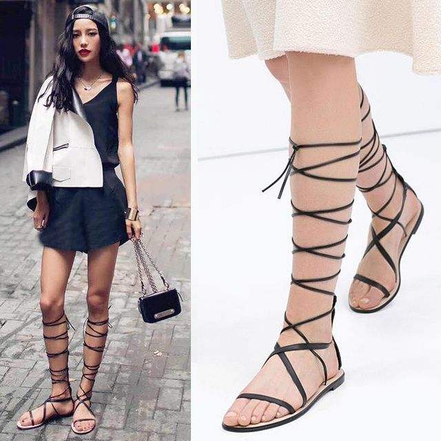 Women's Sandal Shoes Gladiator Sandals Women Leather Cut-Outs Sandals Cross Lacing Flat Sandals Boots Women's Shoes Sandalias