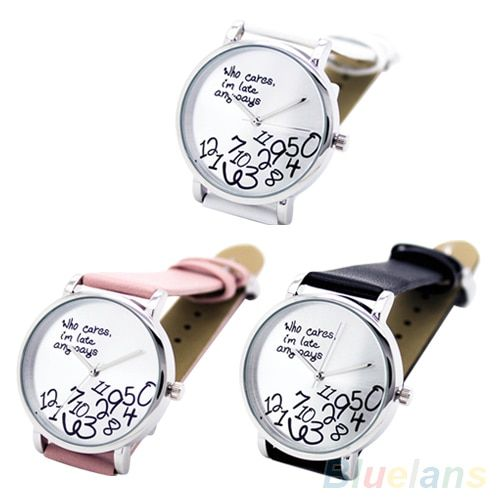 Women's Men's Who Cares Faux Leather Arabic Numerals Letters Printed Wrist Watch