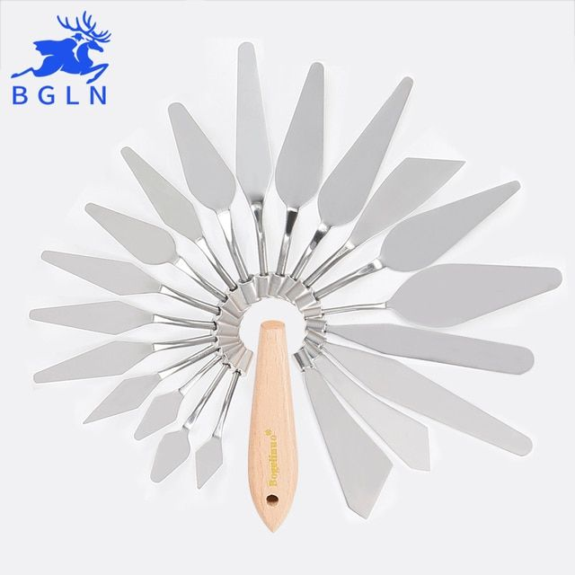1Piece Stainless Steel Paints Palette Scraper Spatula Knives For Artist Oil Gouache Painting Knife Blade Tools Art Supplies