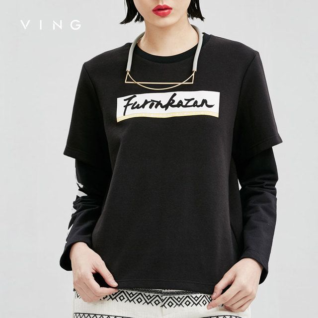 VING Winter Sweatershirts Women Long Sleeve Solid Print All-Match O-Neck Fake Two Pieces Sweatershirts Female Tops