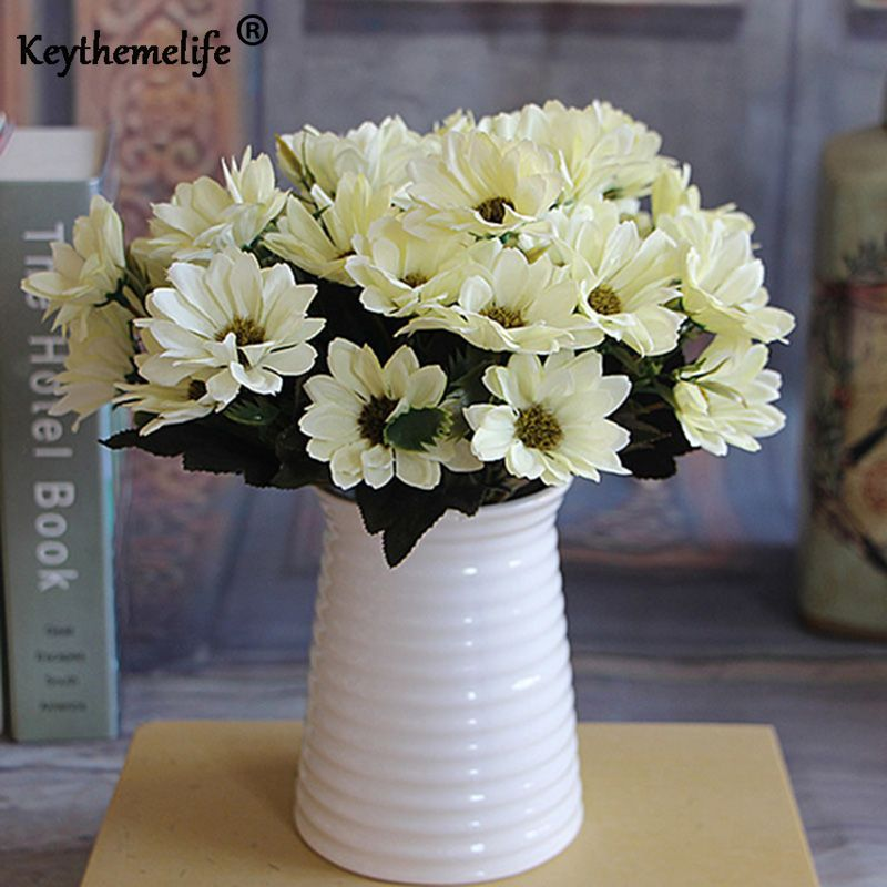 Artificial Peony Flower white blue red pink daisy Floral Bouquet Arrange Table Wedding Home Decor Party fast arrive FA