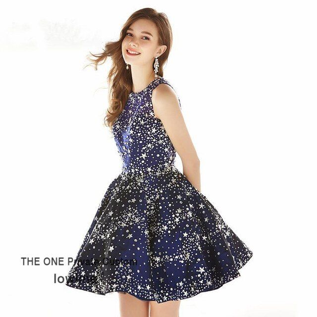 Teens Homecoming Dresses 2017 Navy Blue Bling Bling Short Prom Dress For Graduation Backless Party Dress Vestidos De Festa Curto